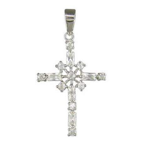 Sterling Silver Fancy CZ Cross Pendant