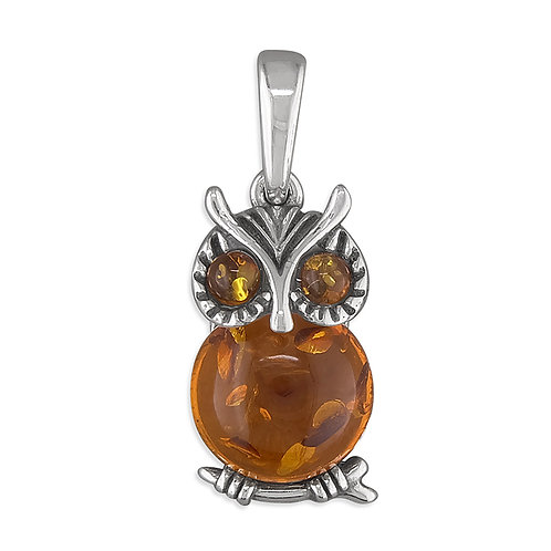 Silver & Amber Owl Pendant Necklace