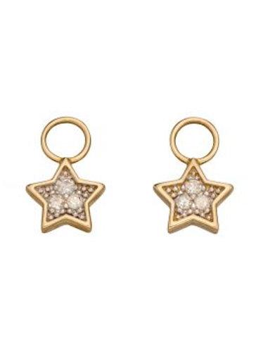 9ct Yellow Gold Diamond Star Hoop Charms