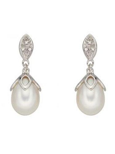 9ct White Gold Fancy Diamond White Pearl Drop Earrings