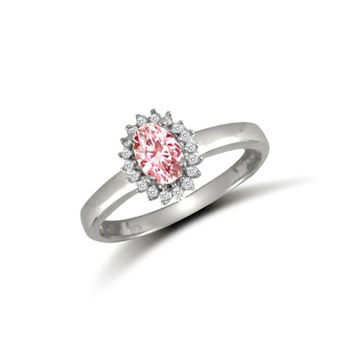 9ct White Gold Pink Oval CZ Cluster Ring