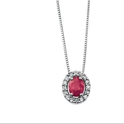 9ct White Gold Ruby & Diamond Halo Pendant Necklace