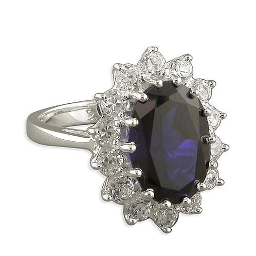 Silver & Sapphire CZ Cocktail Dress Ring
