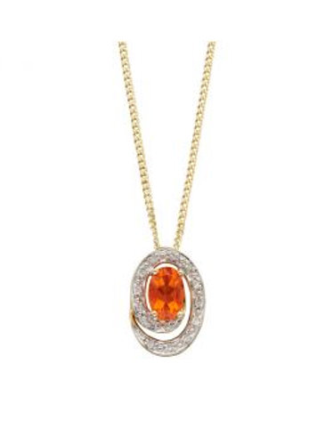 9ct Yellow Gold Fire Opal & Diamond Necklace