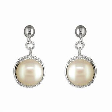 Silver & CZ White Freshwater Pearl Drop Earrings