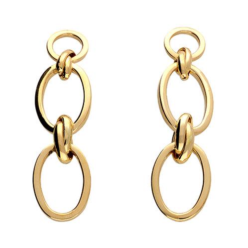 Gold Oval Chain Earrings