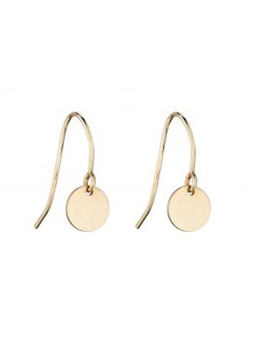 9ct Yellow Gold Tiny Disc Drop Earrings