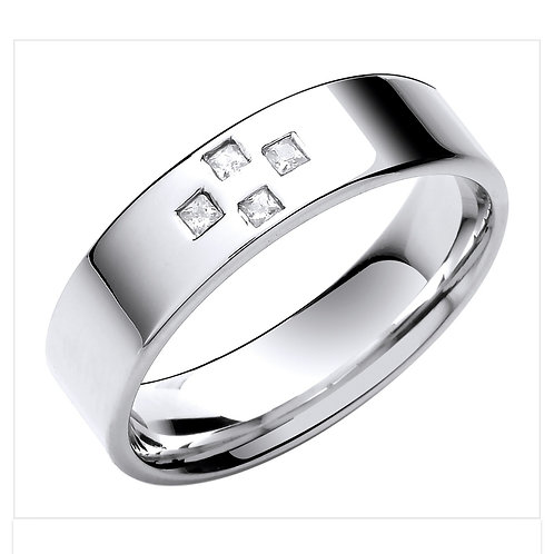 9ct White Gold Flat Diamond Set Ring