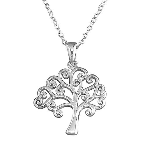 Silver Plain Tree of Life Necklace