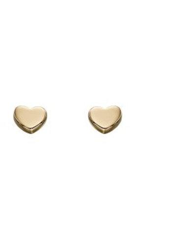9ct Yellow Gold Heart Stud Earrings