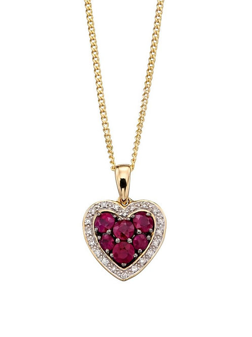 9ct yellow gold Ruby heart & Diamond necklace