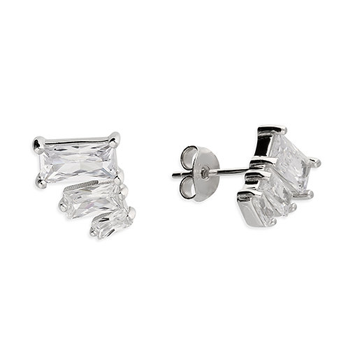 Silver Triple Emerald Cut CZ Stud Earrings