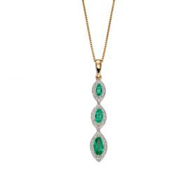 9ct Yellow Gold Marquis Emerald & Diamond Necklace