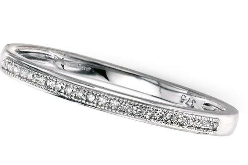 9ct White Gold Slim Half Eternity Diamond Ring