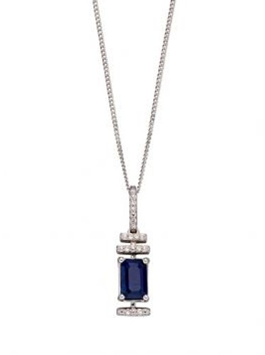 9ct White Gold Sapphire & Diamond Necklace