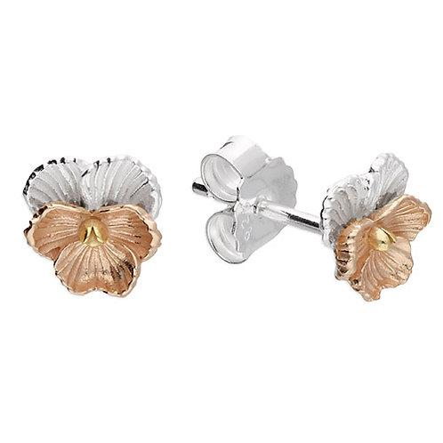 February Birthday Violet Pansy Flower Stud Earrings