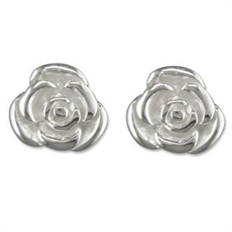 Silver Rose Stud Earrings