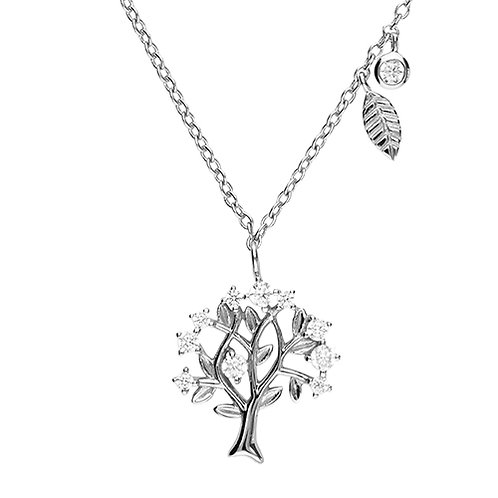 Silver Cubic Zirconia Tree of Life Necklace