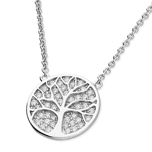 Silver Cubic Zirconia Disc Tree of Life Necklace