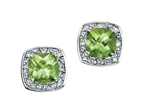 9ct White Gold Peridot & Diamond Stud Earrings