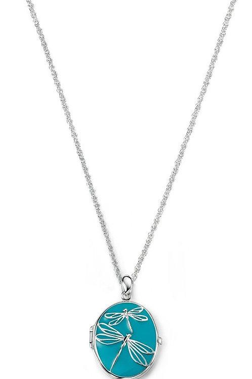 Blue enamel silver locket with dragonfly design