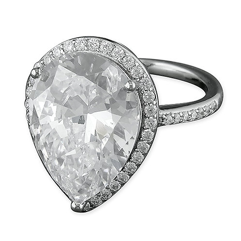 Silver Pear CZ Cocktail Dress Ring