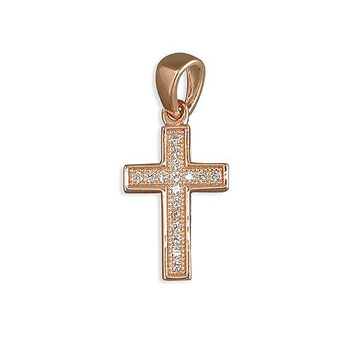Rose Gold CZ Fancy Cross