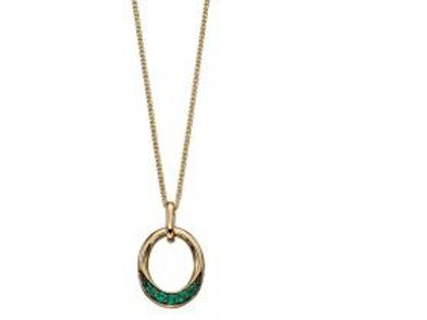 9ct Yellow Gold Emerald Circle Necklace
