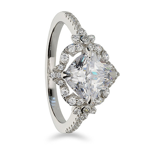 Silver Vintage Style CZ Cubic Zirconia Ring
