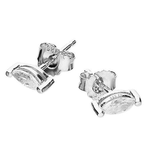 Silver Marquis Cut CZ Stud Earrings