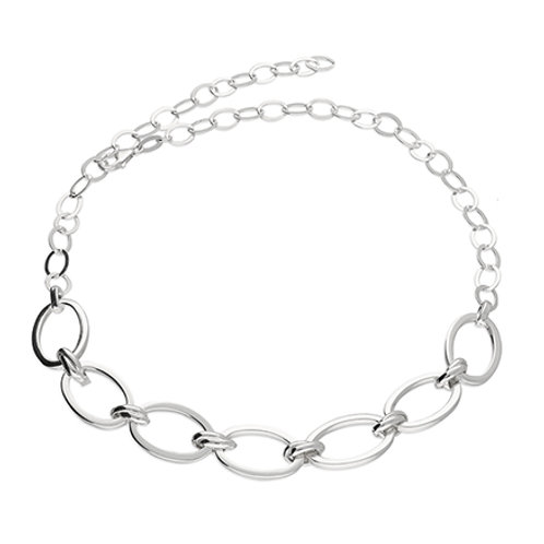 Silver Large Oval Chain Necklace