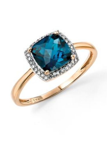 9ct Yellow Gold London Blue Topaz Halo Ring