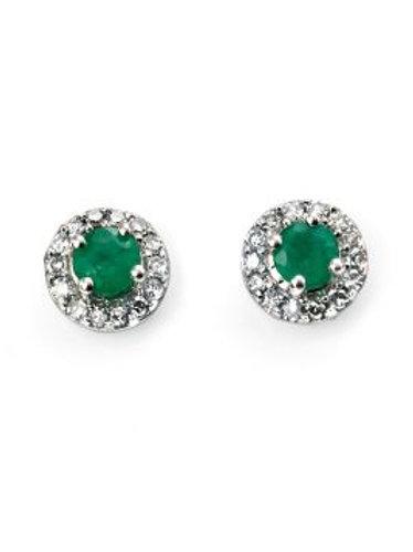 9ct White Gold Round Emerald & Diamond Earrings
