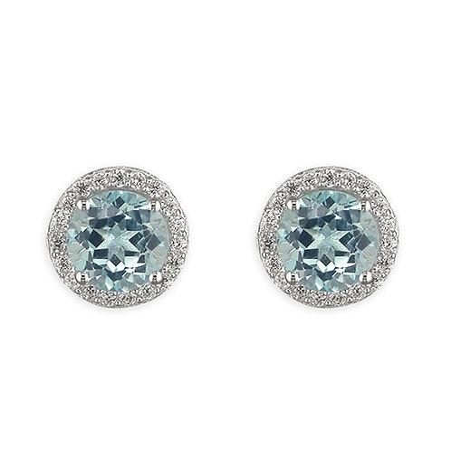 Round Blue Topaz Halo Stud Earrings