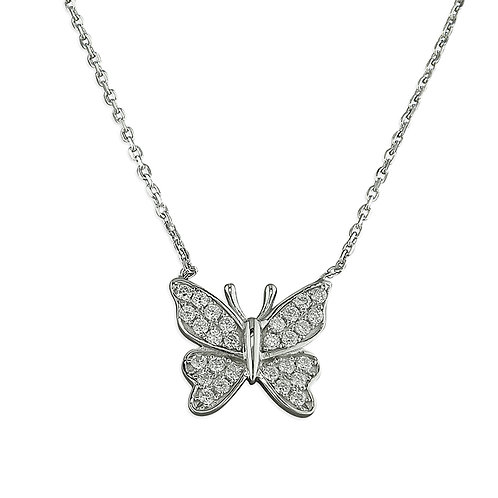 Silver CZ Butterfly Necklace