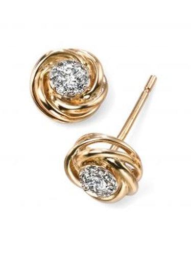 9ct Yellow Gold Diamond Stud Earrings