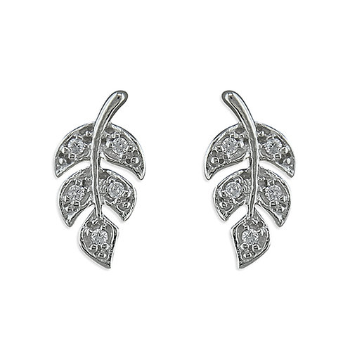 Silver Cubic Zirconia Leaf Design Stud Earrings