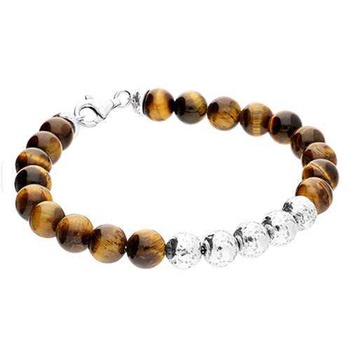 Men's Tiger's Eye & Silver Bead Bracelet