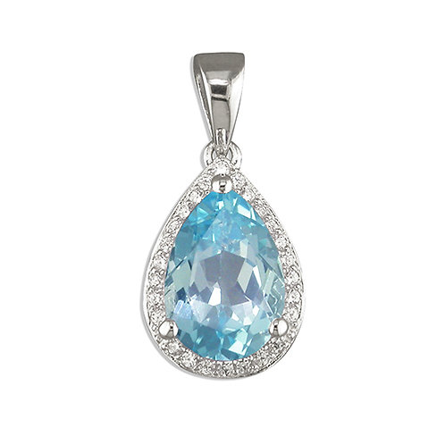 Pear Cut Blue Topaz Halo Necklace