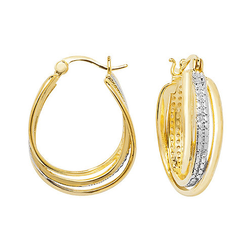 Gold Plated Silver CZ Hoop Earrings