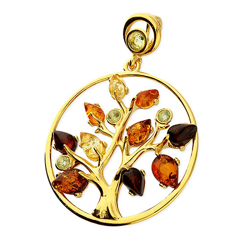 Gold Multi Amber Tree of Life Pendant Necklace