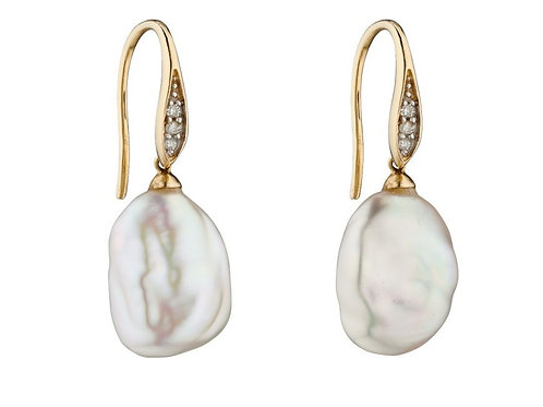9ct gold & baroque pearl earrings