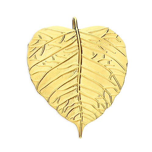 Gold Plated Silver Large Leaf Pendant Necklace