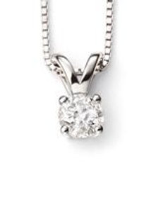 9ct White Gold Diamond Solitaire Pendant Necklace 0.25ct