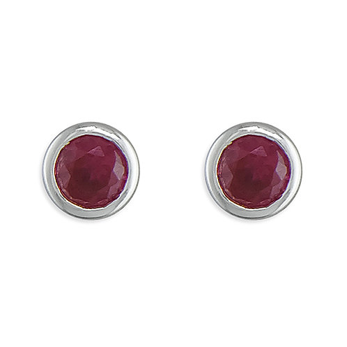 January Birthstone Garnet CZ Stud Earrings