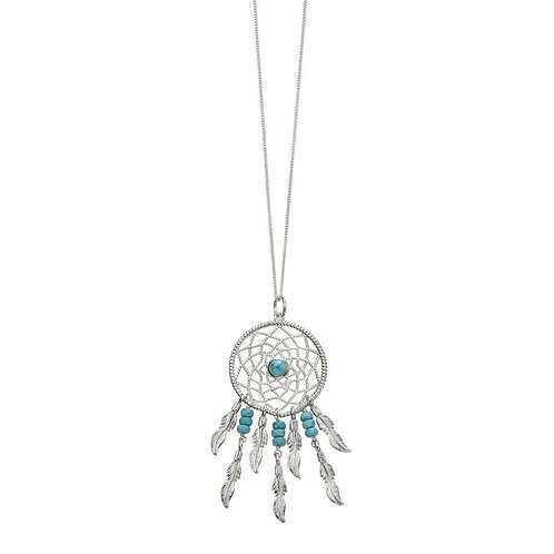 Blue magnesite dream catcher necklace