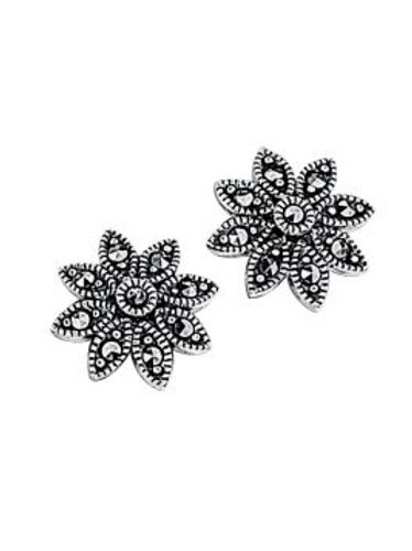 Silver Marcasite Daisy Stud Earrings
