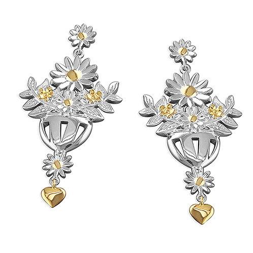Silver Daisy Statement Chandelier Earrings