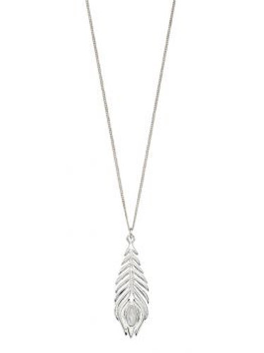 Silver Peacock Pearl Feather Necklace