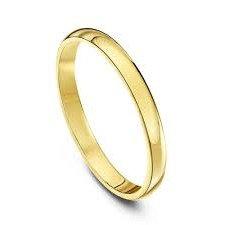 9ct Yellow Gold D Shape 2-3mm Wedding Ring